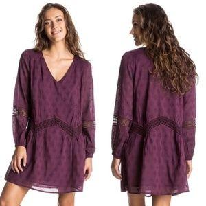 ROXY Purple Boho Cutout Peasant Dress
